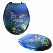 MDF Clown Fish Print Novelty Toilet Seat with Chrome Metal Bottom Fixing Hinges